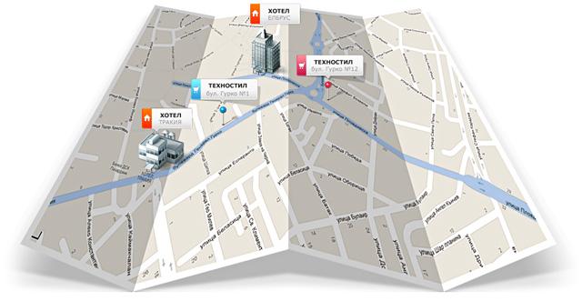 Карта на магазините на Техностил Пазарджик